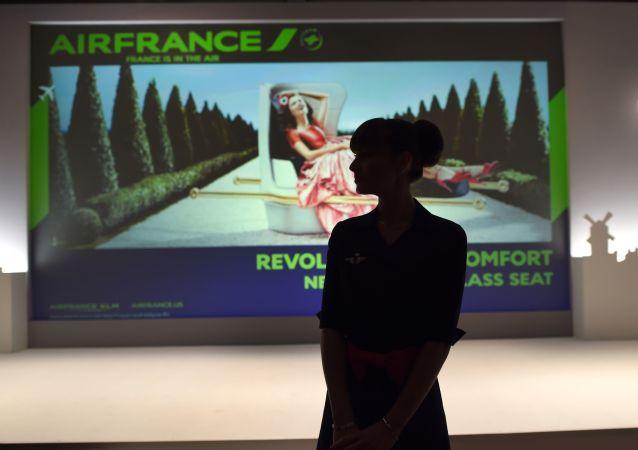 Stewardesa Air France na wystawie w Nowym Jorku