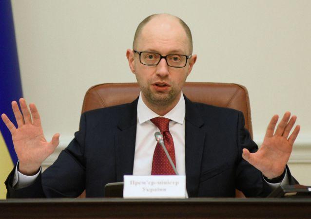 Premier Ukrainy Arsenij Jaceniuk na posiedzeniu ukraińskiego rządu w Kijowie