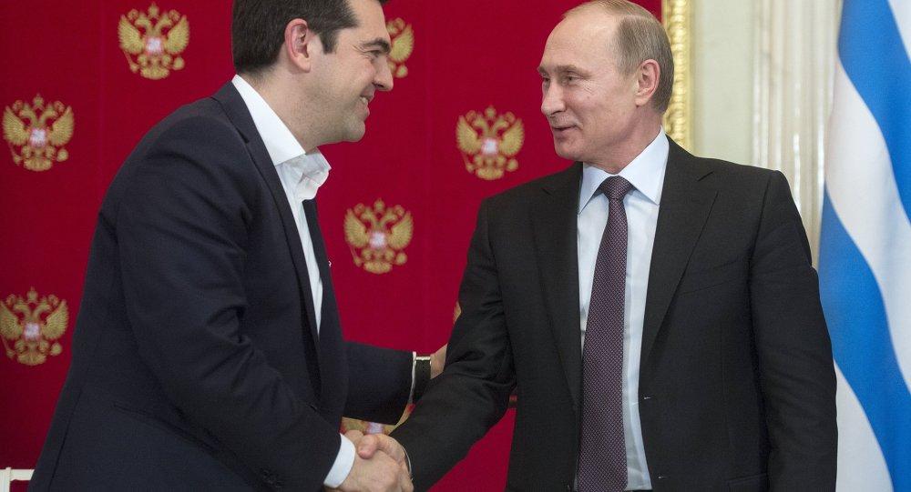 Prezydent Rosji Władimir Putin i premier Grecji Aleksis Tsipras