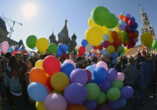 Pochód pierwszomajowy w Moskwie