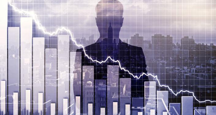 Sylwetka biznesmena na tle pędzącej w dół krzywej