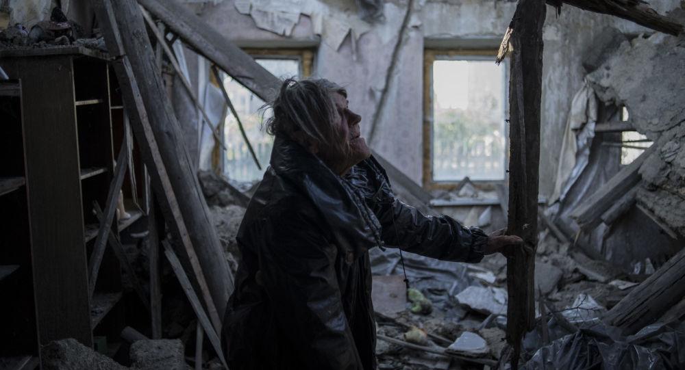 Mieszkanka miejscowości Staromichajłowka w obwodzie donieckim Lubow Agolcewa