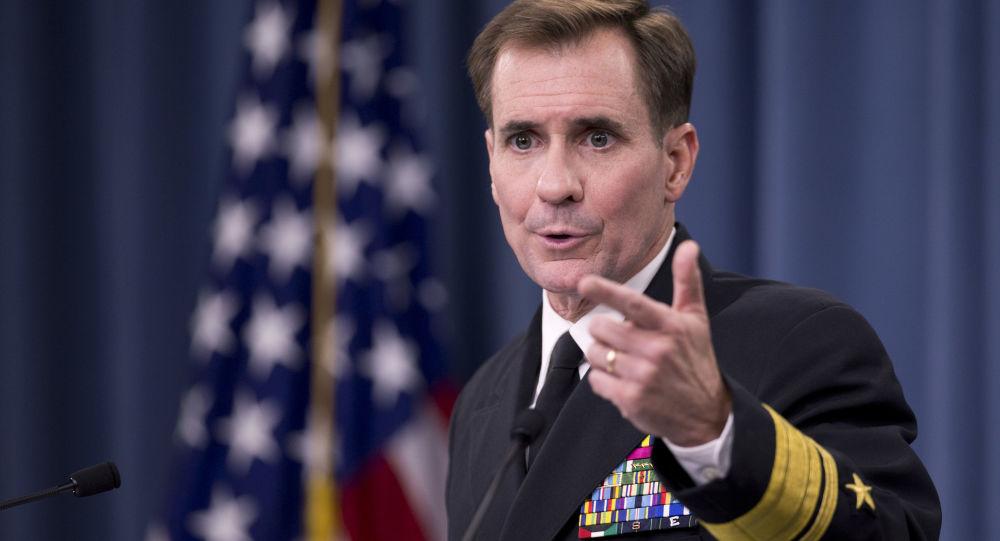 Rzecznik Departamentu Stanu USA John Kirby na konferencji prasowej w Pentagonie
