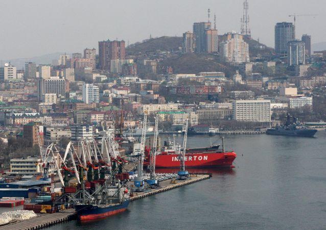 Handlowy port morski we Władywostoku