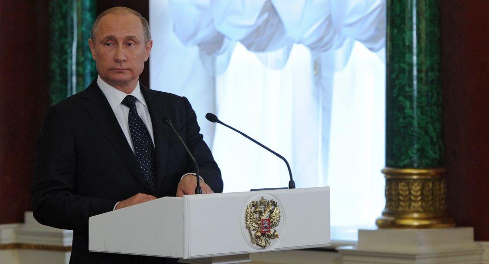 Prezydent Rosji Władimir Putin podczas wspólnej konferencji prasowej z premierem Izraela Binjaminem Netanjahu na Kremlu