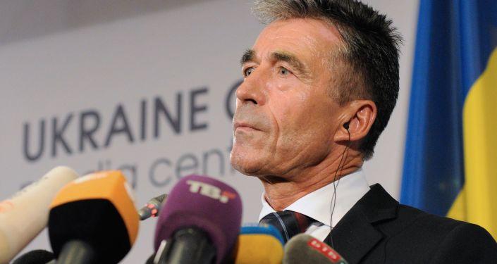 Briefing sekretarza generalnego NATO Andersa Fogh Rasmussena w Kijowie