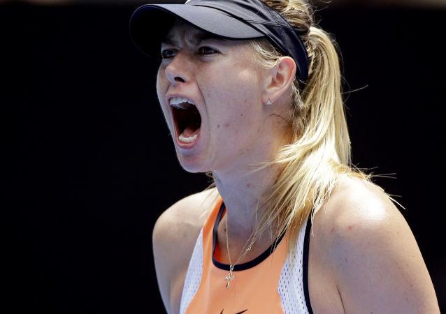 Tenisistka Maria Szarapowa podczas meczu na turnieju Australian Open