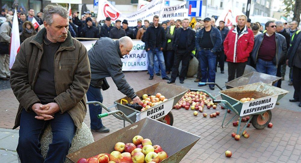 Polscy sadownicy podczas protestu