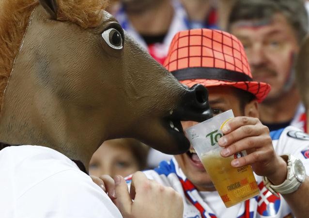 Słowaccy kibice przed meczem Francja - Rumunia podczas Euro-2016