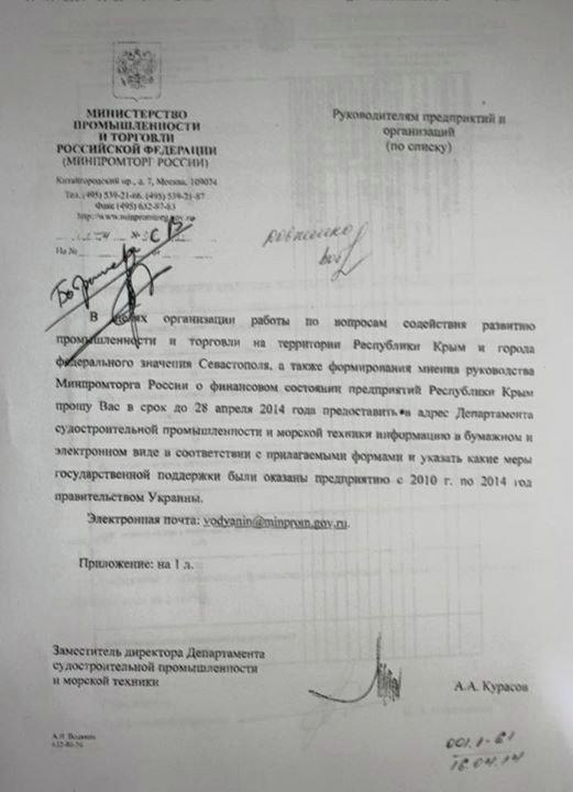 Pismo rosyjskiego Ministerstwa Przemysłu i Handlu do Sewastopolskiej Morskiej Fabryki