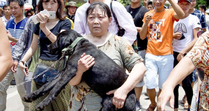 Aktywistka z uratowanym przed ubojem psem na festiwalu psiego mięsa w Chinach