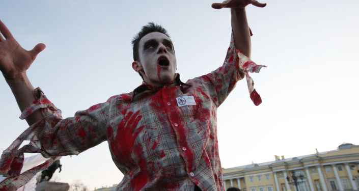 Chłopak przebrany za zombie