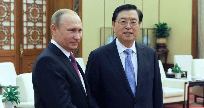 Spotkanie prezyenta Rosji Władimira Putina z przewodniczącym Stałego Komitetu Ogólnochińskiego Zgromadzenia Przedstawicieli Ludowych Zhangiem Dejiangiem podczas wizyty w Pekinie