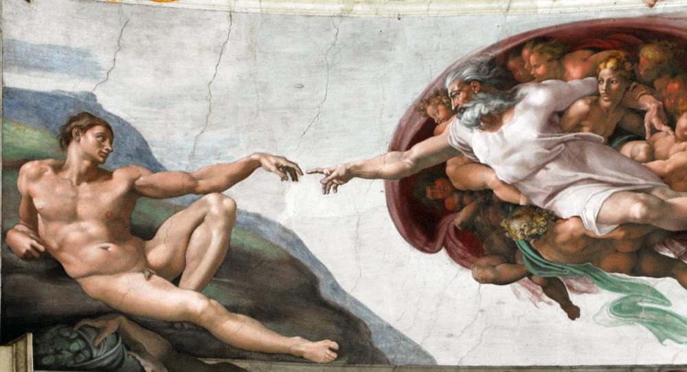 Michał Anioł Stworzenie Adama.