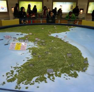 Mapa Półwyspu Koreańskiego w południowokoreańskim obserwatorium