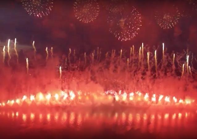 Drugi Międzynarodowy festiwal fajerwerków w Moskwie.