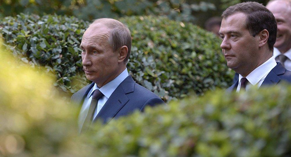 Prezydent Rosji Władimir Putin i Premier Rosji Dmitrij Miedwiediew. Krym.