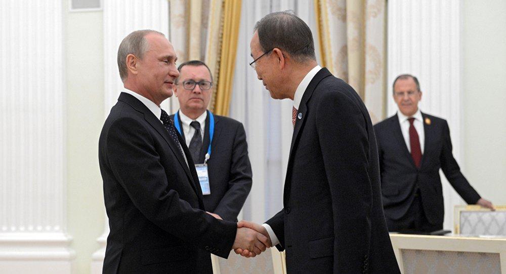 Prezydent Rosji Władimir Putin i sekretarz generalny ONZ Ban Ki-moon