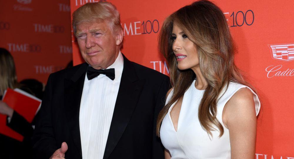 Kandydat na prezydenta USA z ramienia partii republikańskiej Donald Trump z zoną Melanią