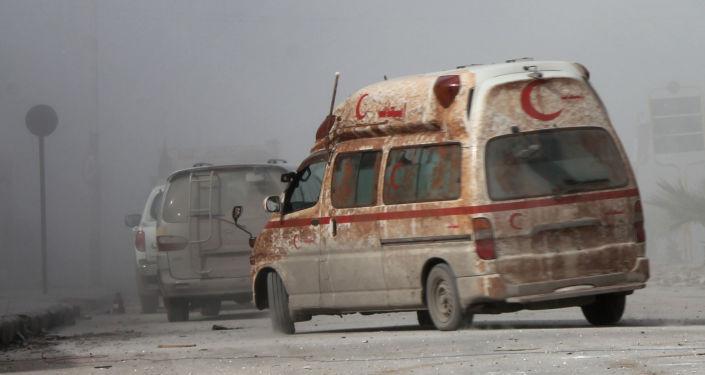 Pogotowie ratunkowe w Aleppo.