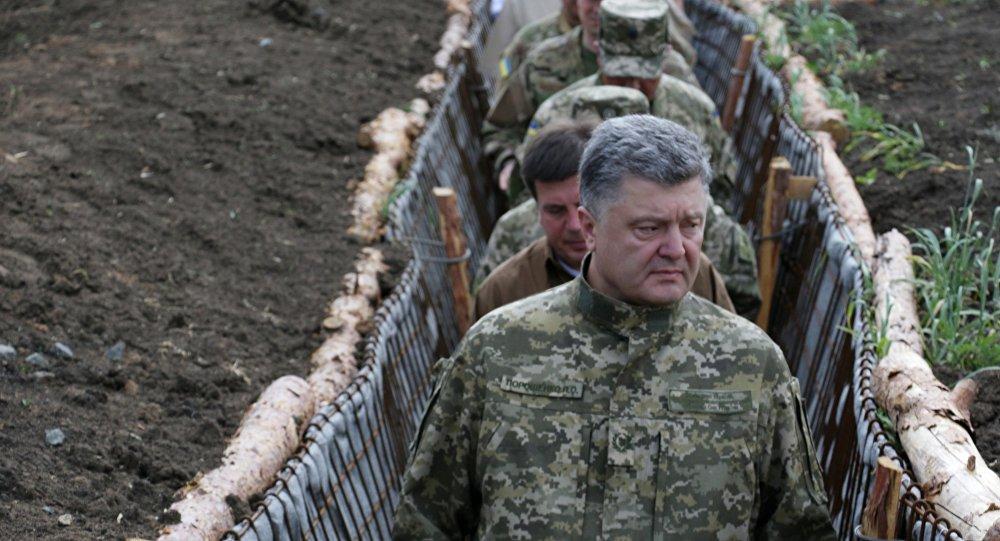 Prezydent Ukrainy Petro Poroszenko z wizytą w obwodzie donieckim