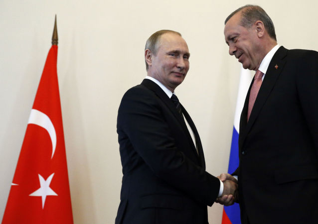 Władimir Putin i Recep Tayyip Erdogan w Petersburgu