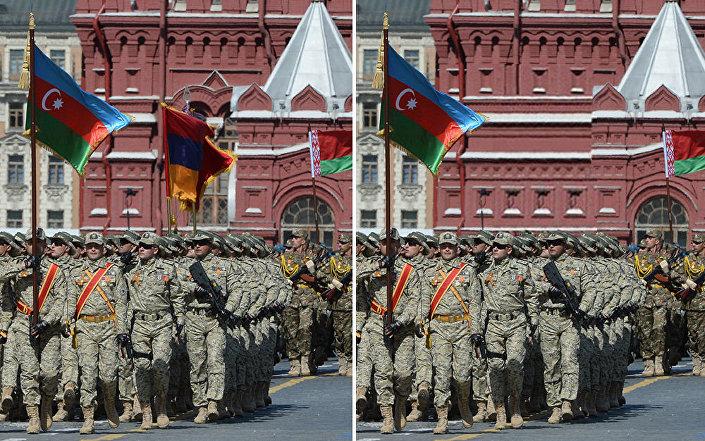 Na zdjęciu z Defilady Zwycięstwa Azerbejdżan zostawił Armenię bez flagi