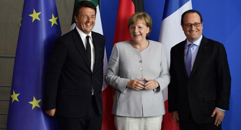Premier Włoch Matteo Renzi, kanclerz Niemiec Angela Merkel i prezydent Francji Francois Hollande na spotkaniu w Berlinie