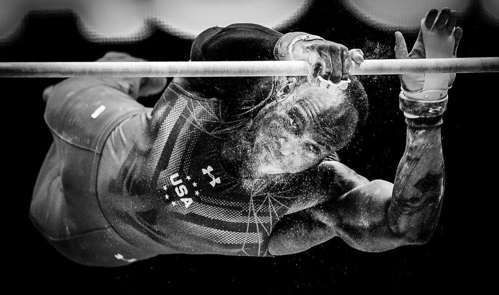 Amerykański gimnasta  Donnel Whittenburg na Mistrzostwach Świata w gimnastyce sportowej w Glasgow