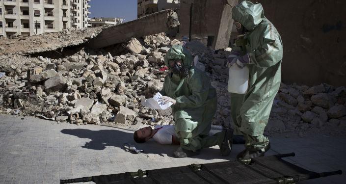 Ćwiczenia z udzielania pierwszej pomocy ofiarom ataku chemicznego, Syria