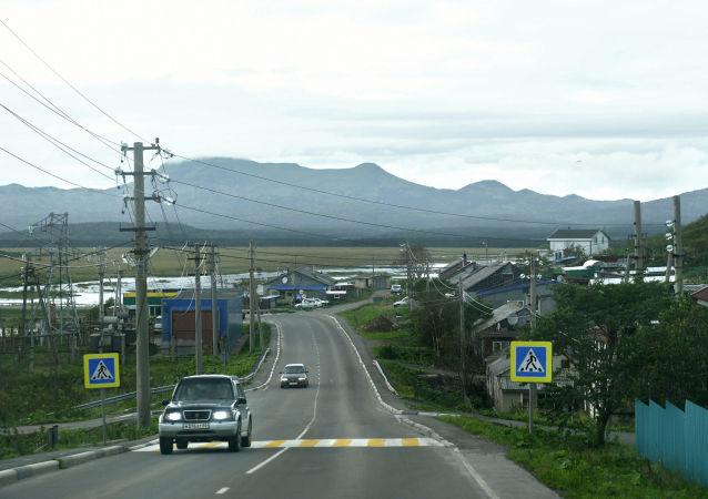 Wioska Południowy Kurylsk na wyspie Kunaszir w Wielkim Łańcuchu Kurylskim.