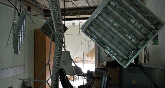 Skutki pożaru w budynku telewizji Inter w Kijowie
