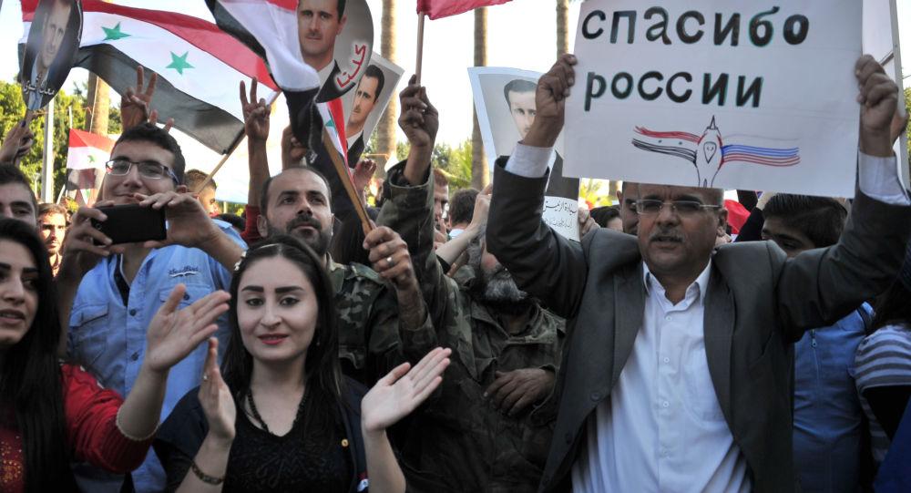 Uczestnicy spotkania w Tartusie (Syria) dla wsparcia operacji Rosyjskich Sił Powietrzno-Kosmicznych w Syrii.
