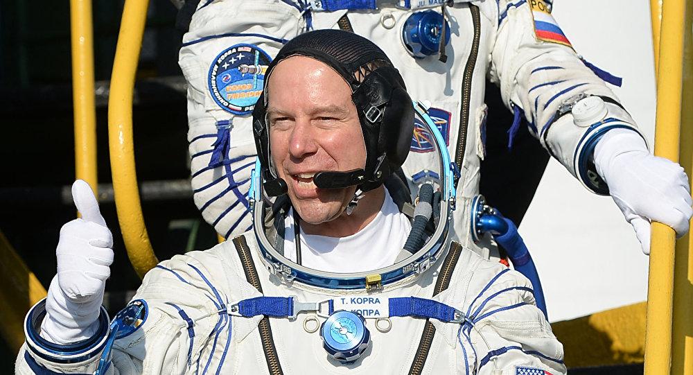 Astronauta NASA Timothy Kopra przed startem rosyjskiego statku kosmicznego Sojusz