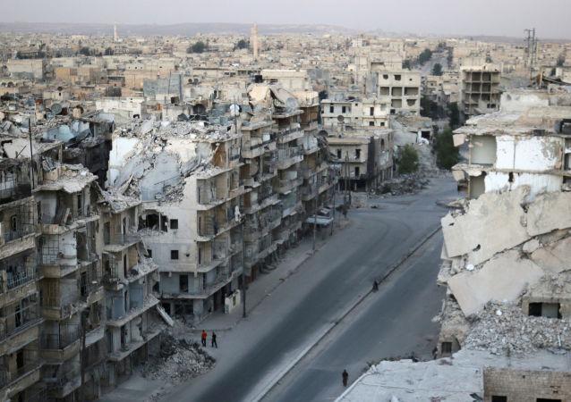 Zniszczone budynki w Aleppo