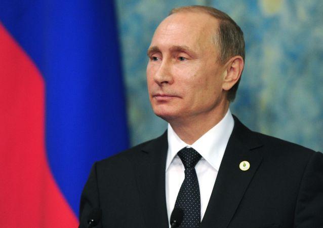 Prezydent Rosji Władimir Putin na konferencji prasowej w Paryżu