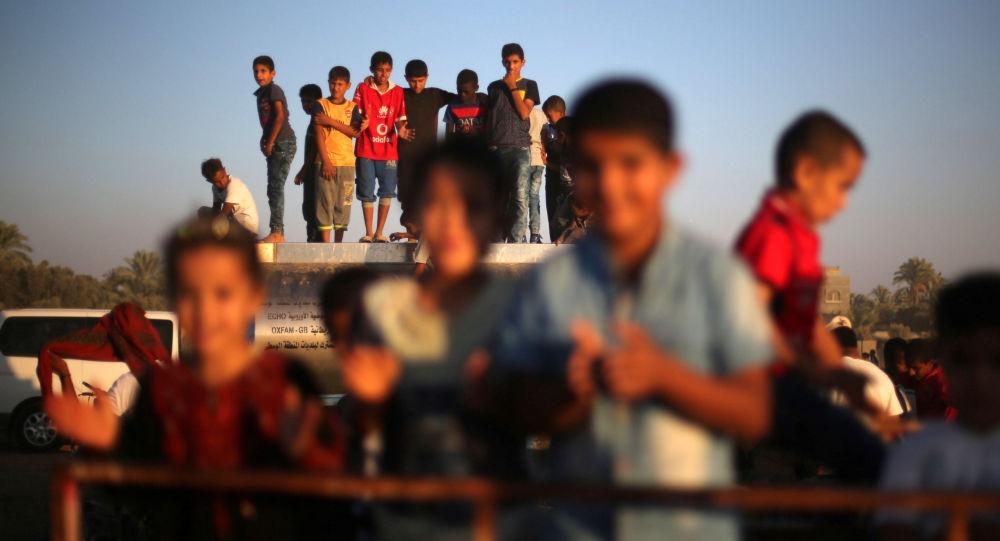 Palestyńskie dzieci w czasie Festiwalu w Strefie Gazy