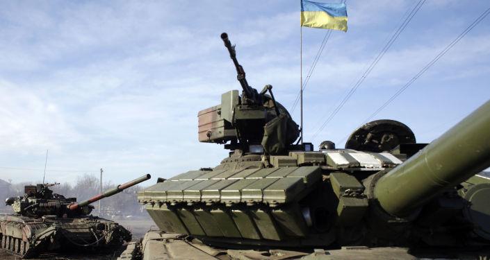 Ukraińskie czołgi na punkcie kontrolnym pod Gorłówką