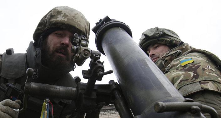 Żołnierze ukraińscy pod Donieckiem, 8 grudnia 2014