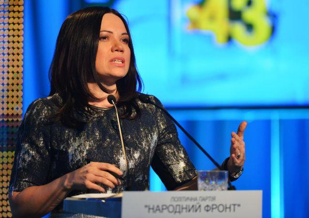 Przedstawicielka partii politycznej Front Narodowy Wiktorija Siumar