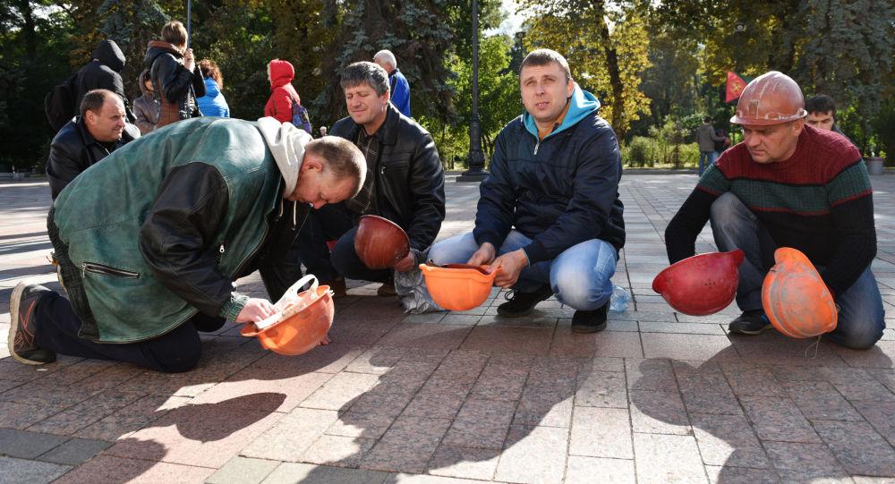 Górnicy z kopalni Nowołyńsk w czasie akcji protestu