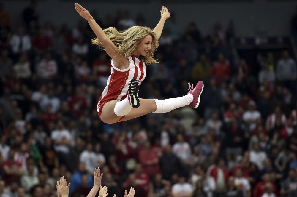 Cheerleaderka klubu Crvena Zvezda w Belgradzie
