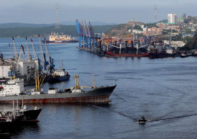 Widok na port i statki w zatoce Złoty Róg we Władywostoku