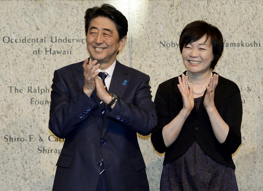 Premier Japonii Shinzo Abe i jego żona Akie Abe