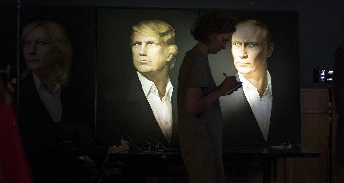 Portrety Trumpa i Putina w pubie Union Jack w Moskwie