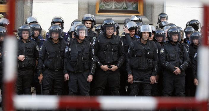 Kordon policyjny w Kijowie