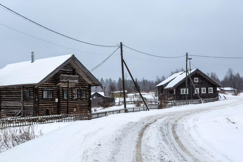 Drewniane domy mieszkalne we wsi Kinierma rejonu priażinskiego Republiki Karelii