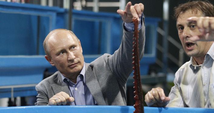 Władimir Putin z ośmiornicą