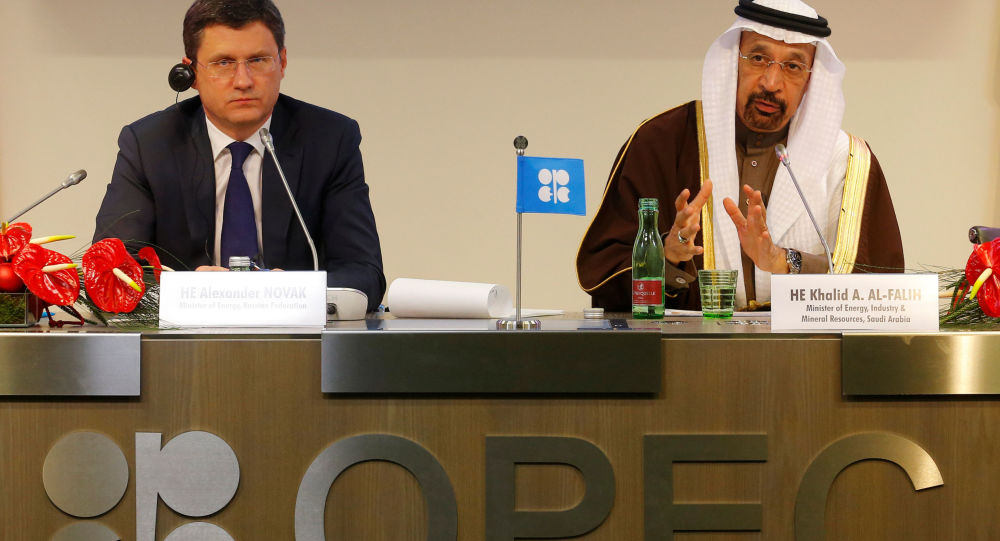 Minister energetyki Aleksander Nowak i minister energetyki Arabii Saudyjskiej na konferencji prasowej po spotkaniu OPEC