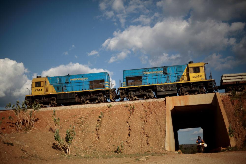 Pociąg towarowy przy niedokończonej kolei Transnordestina do przejazdu wagonów towarowych